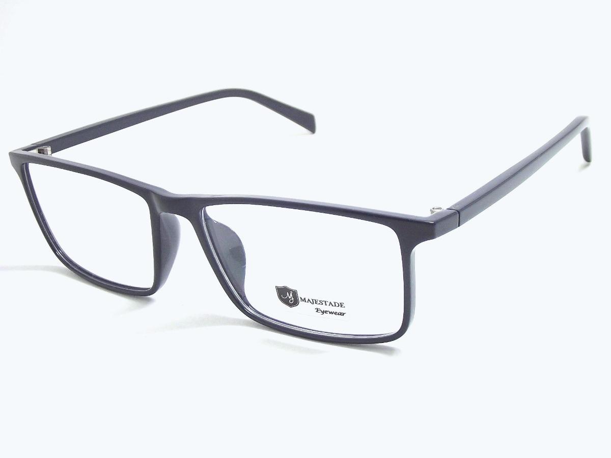 62ad44cfd3a39 armação óculos acetato quadrado masculino azul t135 c120 mj. Carregando  zoom.