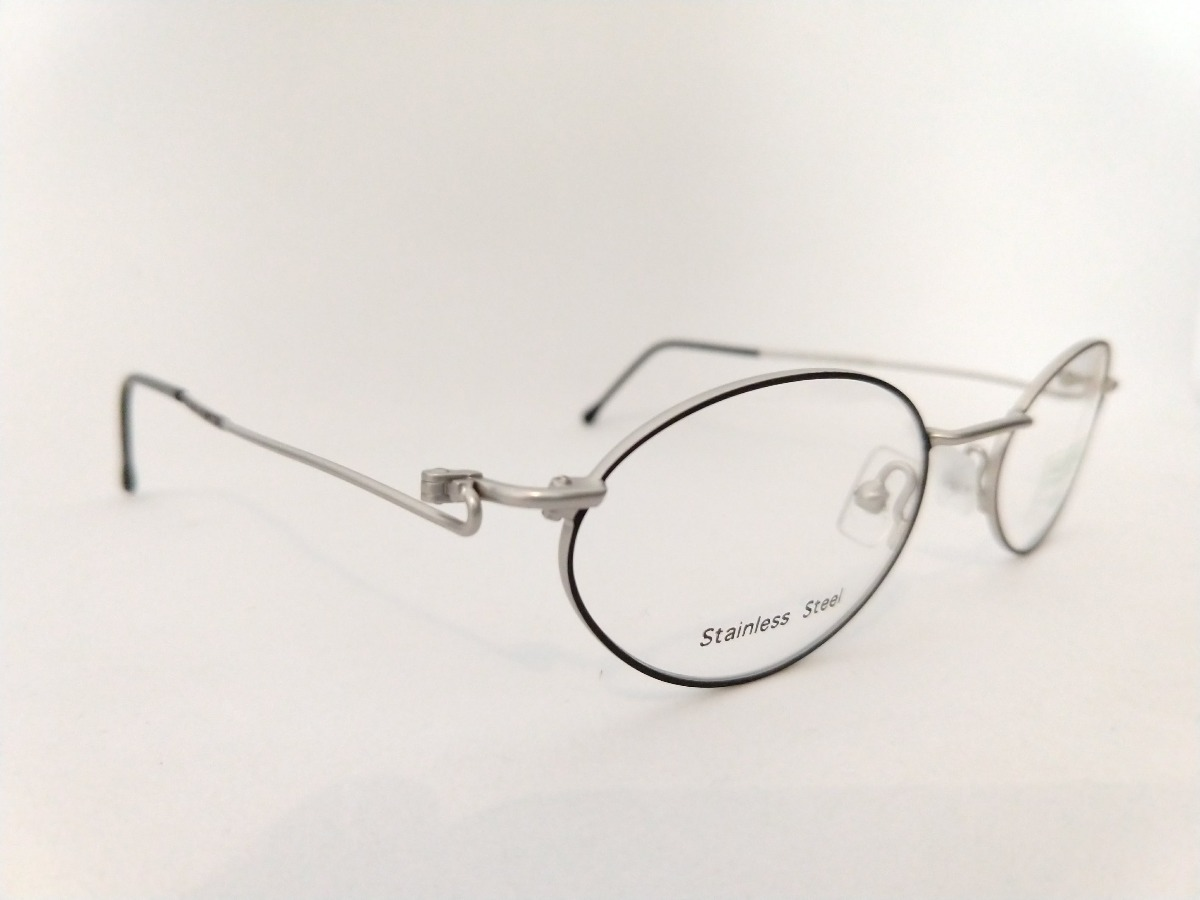 1a78648ae armação oculos oval preto pequeno aço inox prata super leve. Carregando  zoom... armação oculos aço. Carregando zoom.