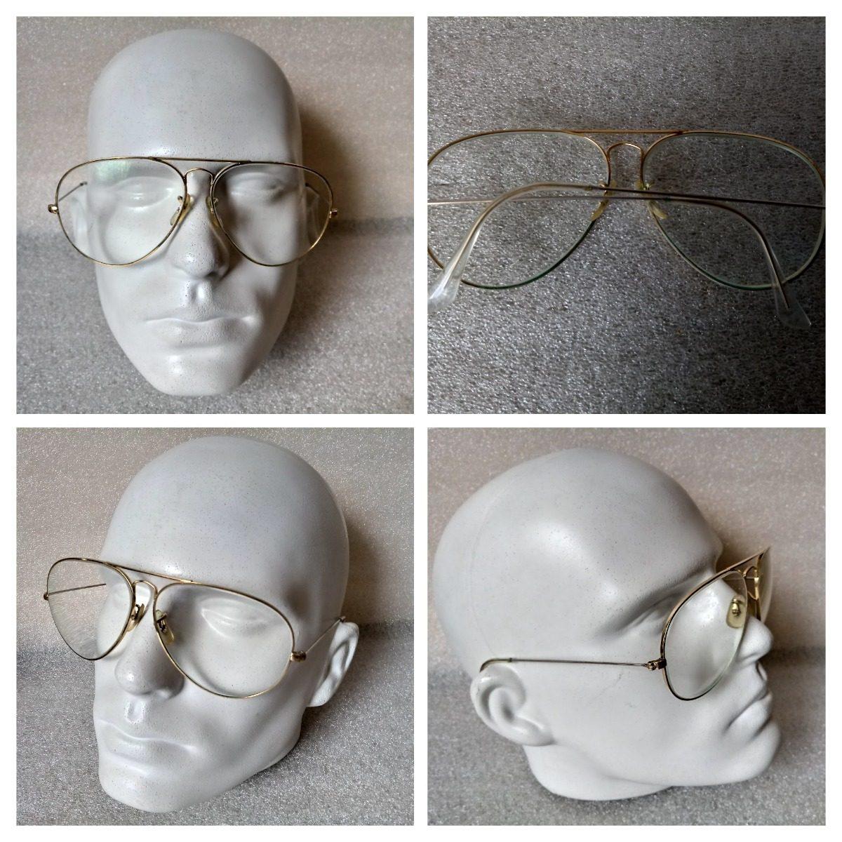 65d3ffbd8c8f5 armação oculos antigo usado ray-ban legít americ dourado 72. Carregando  zoom.