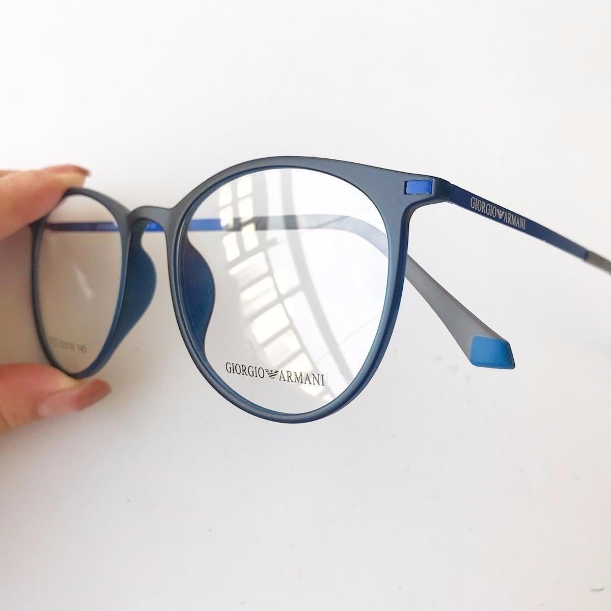 d087a8af5c602 armação óculos armani gatinho redondo titânio azul. Carregando zoom.