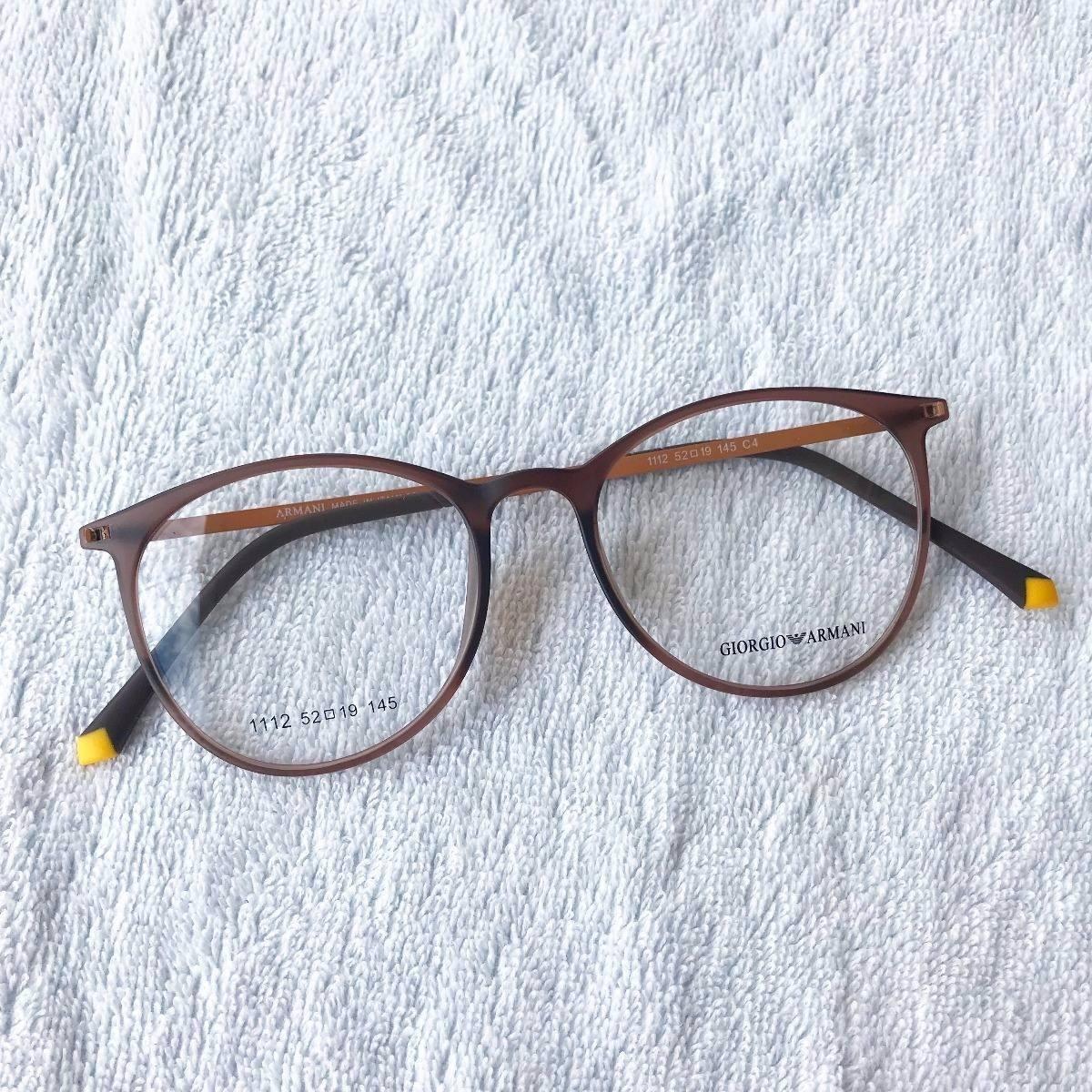 501270ed8 Armação Óculos Armani Gatinho Redondo Titânio Marrom - R$ 120,00 em ...