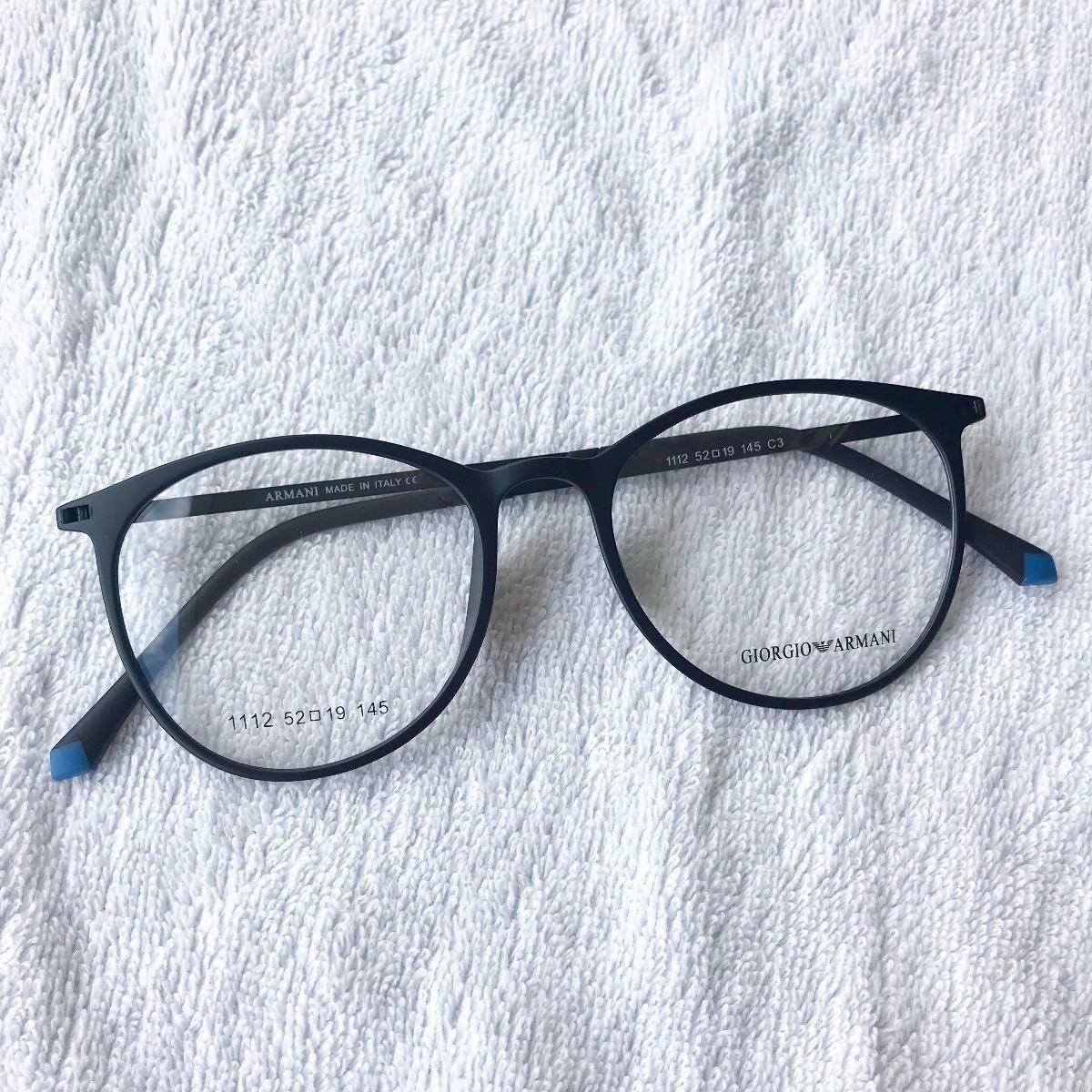 1eee0fbcce032 armação óculos armani gatinho redondo titânio preto. Carregando zoom.
