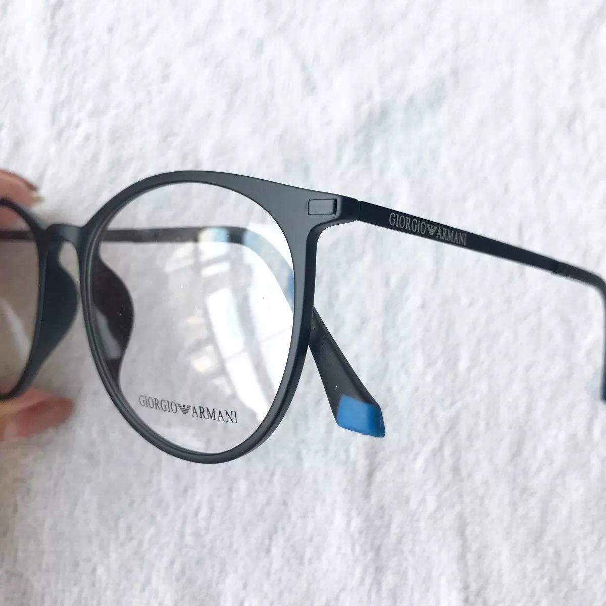 f8bc2108af156 armação óculos armani gatinho redondo titânio preto. Carregando zoom.