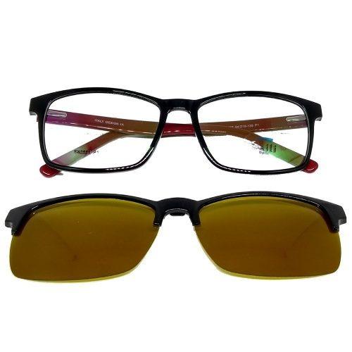 Armação Óculos Clip On P  Grau 2 Em 1 Polarizado Em Acetato - R  106,00 em  Mercado Livre 443cfd7688