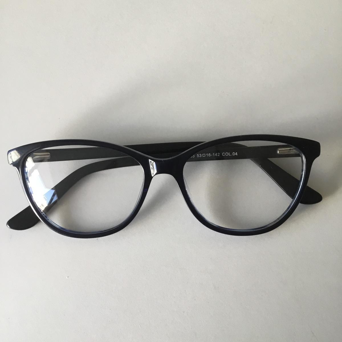 897437db5 armação óculos de grau acetato gatinho azul escuro + brinde. Carregando zoom .