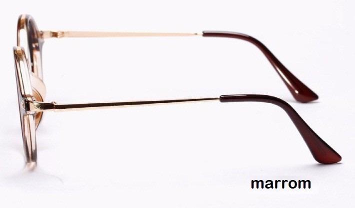 b83b5da3fdb0a Armação Óculos De Grau Acetato Redondo Masc. E Feminino Bj - R  44 ...