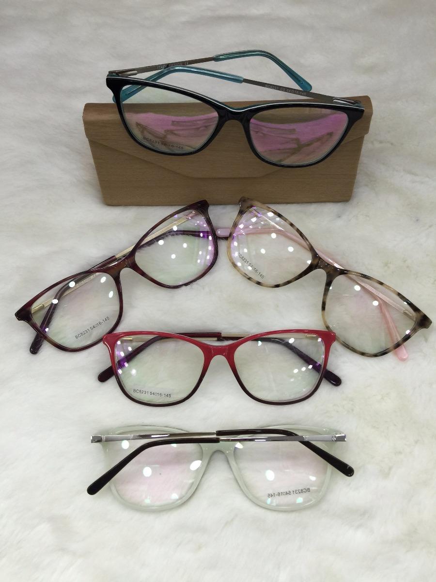 ffb6f3a30 Armação Óculos De Grau Acetato Várias Cores Feminina Gatinha - R$ 54 ...