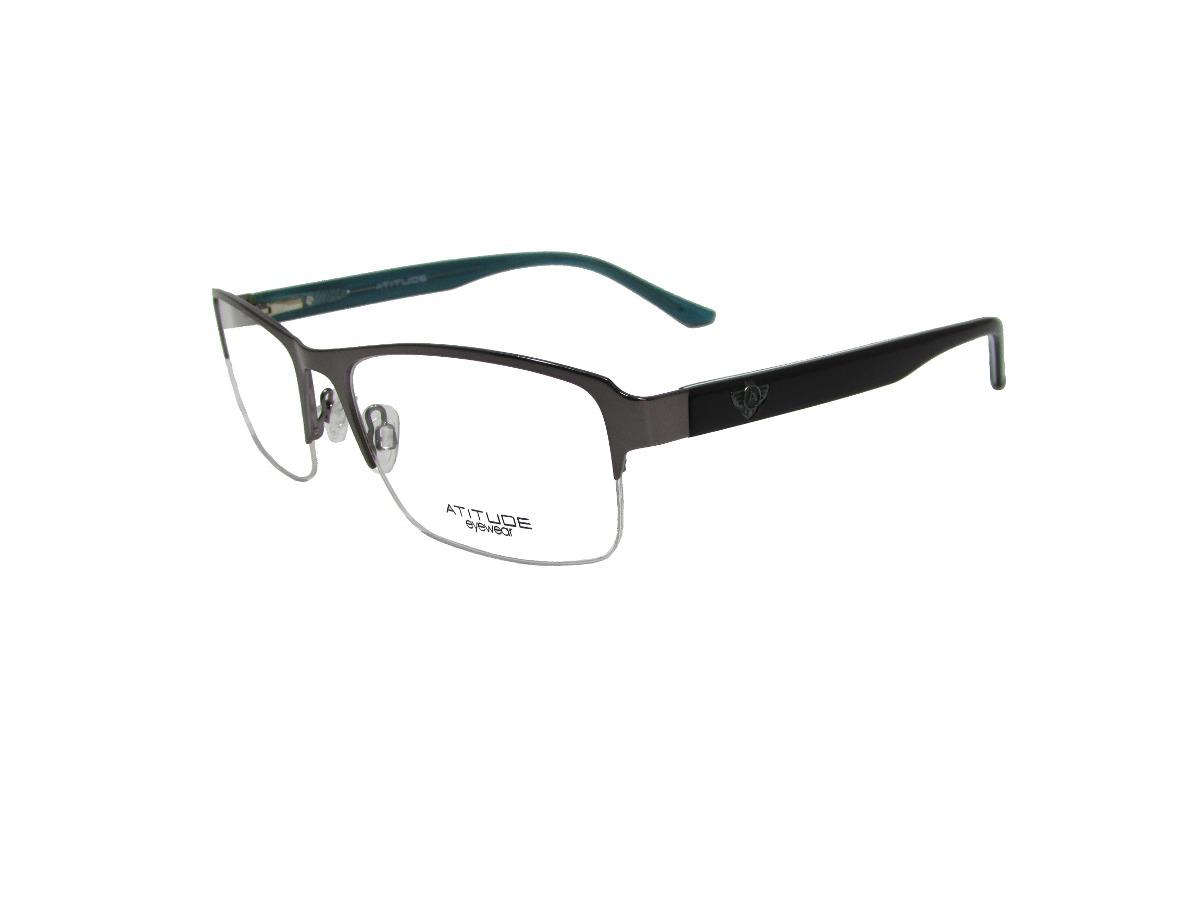 armação óculos de grau atitude prata e preto masculino. Carregando zoom. a17dd86a62
