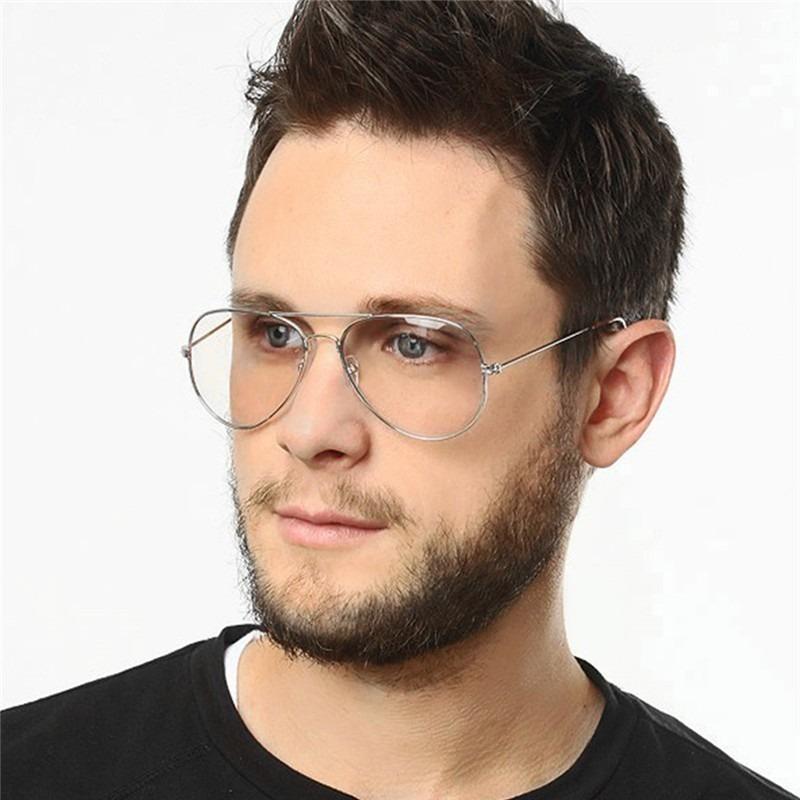 86045f248afaa armação óculos de grau aviador masculino feminino prateado. Carregando zoom.