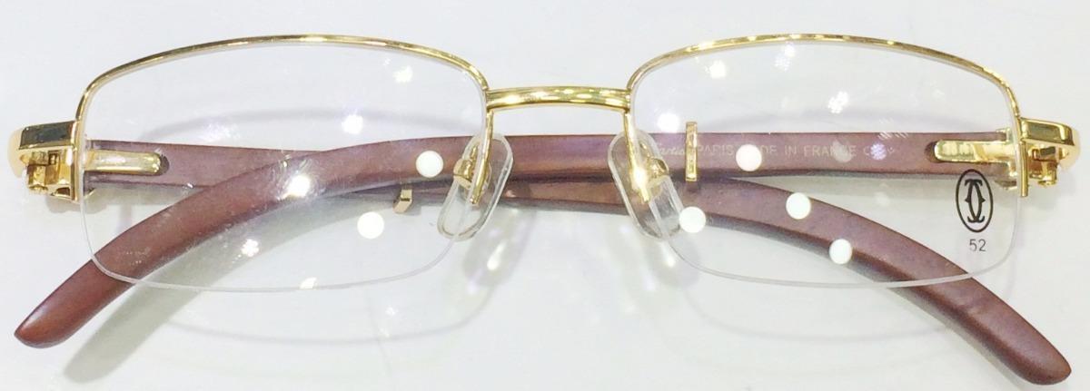 armação oculos de grau cartier meio aro dourado madeira. Carregando zoom. be17e381ff
