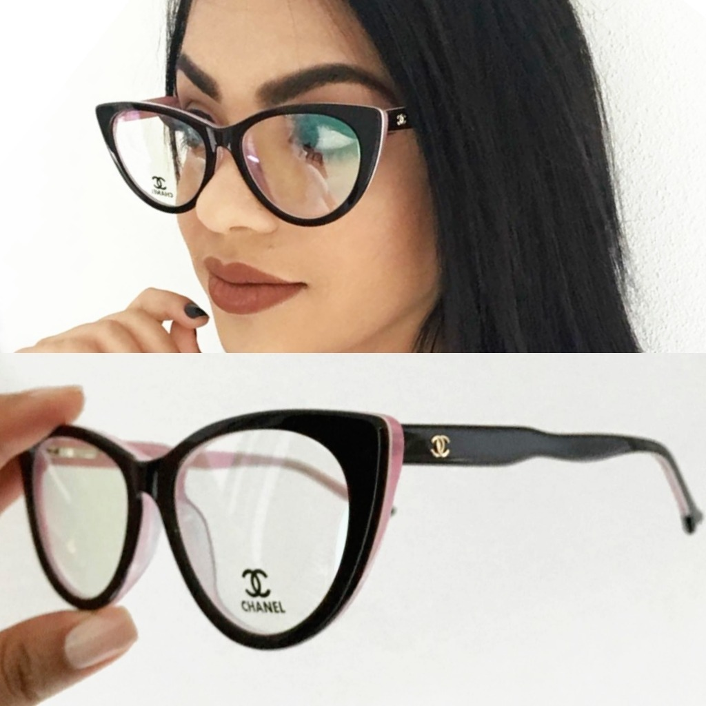 19618c2be armação óculos de grau chanel acetato gatinho + brinde! Carregando zoom.