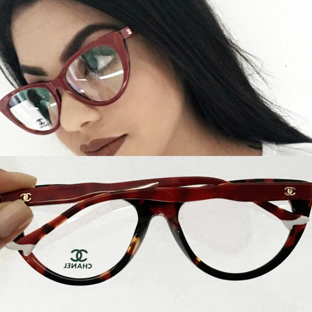 7ab85bc57 Armação Óculos De Grau Chanel Gatinho Vermelho + Brinde! - R$ 119,90 em  Mercado Livre