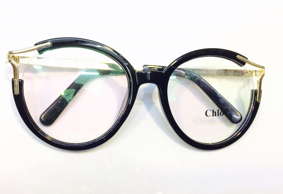 2ae0731297bd4 armação óculos de grau chloe novo preto com dourado -cl201. Carregando zoom.