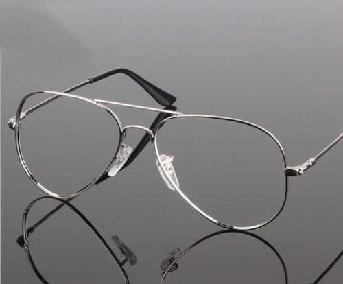 a620db2e4de88 Armação Óculos De Grau Estilo Ray-ban Aviador Prata Dourada - R  95 ...