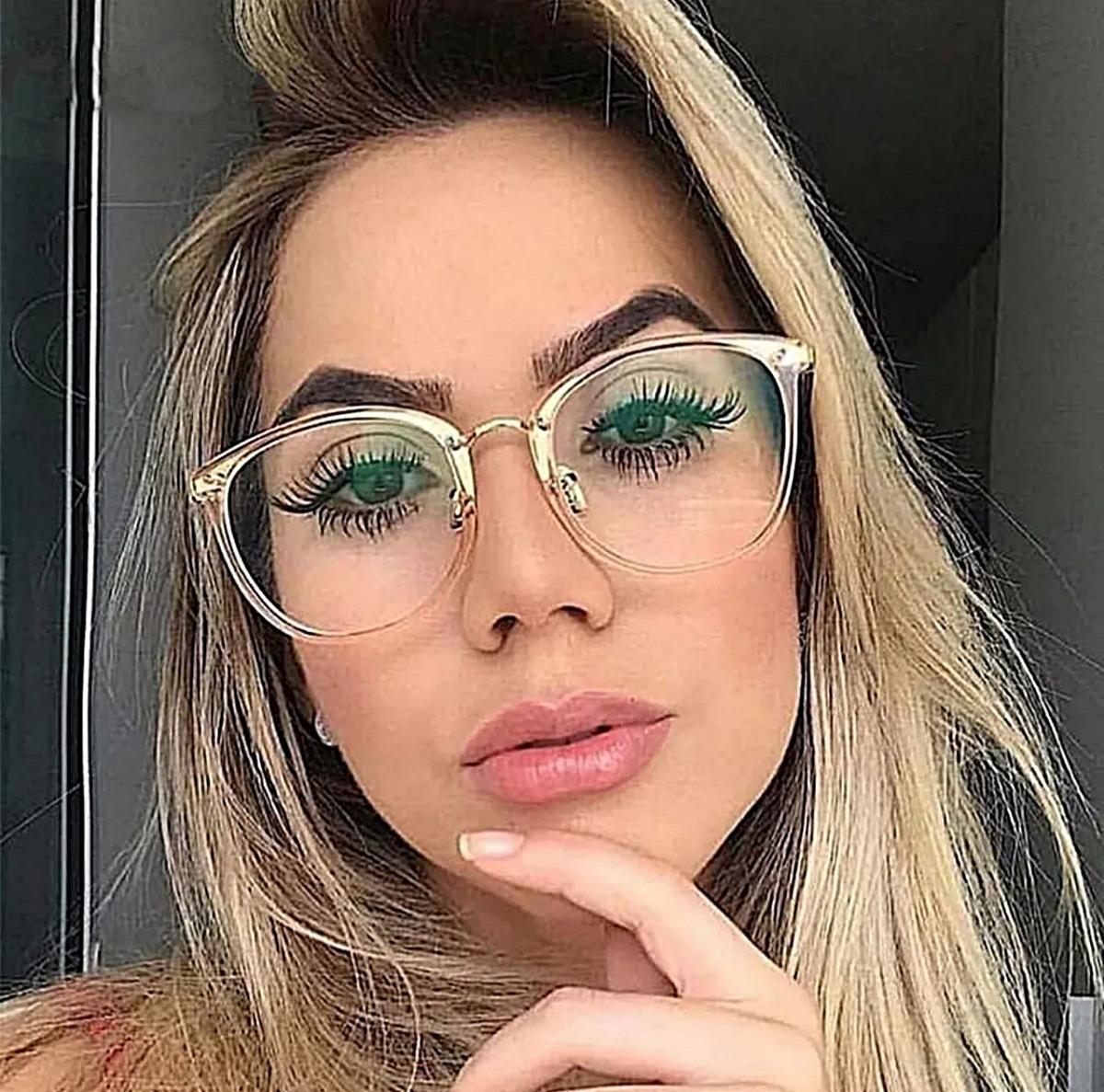 1199e57cc armação óculos de grau feminina quadrada parafusada + estojo. Carregando  zoom.
