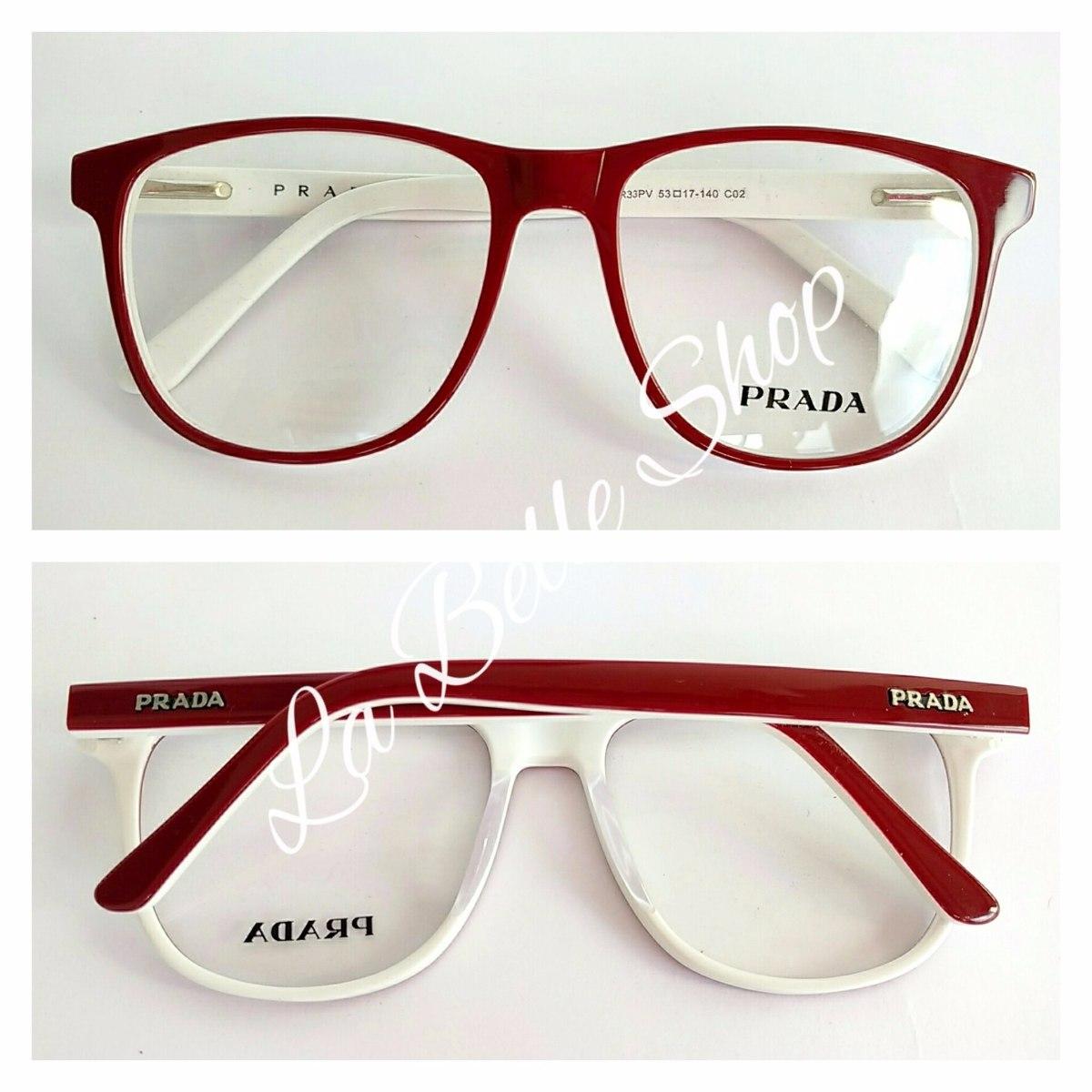 ffdbb71f6827d Armação Óculos De Grau Feminino Acetato Pr33pv - R  124,00 em ...