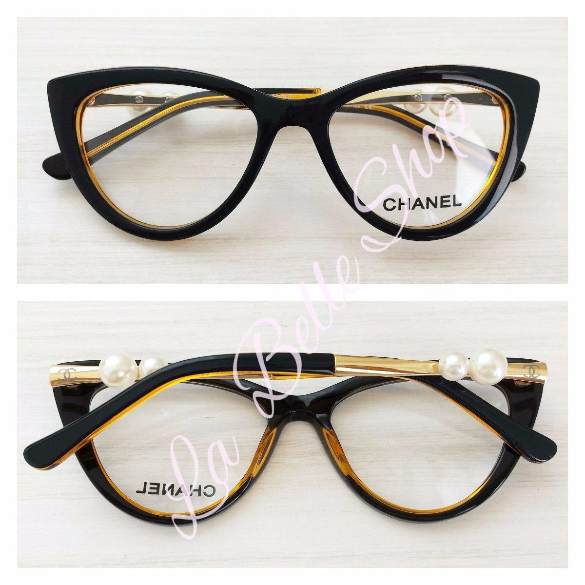 Armação Óculos De Grau Feminino Gatinha Pérola Ch3389 - R  134,90 em Mercado 5abbad6a55