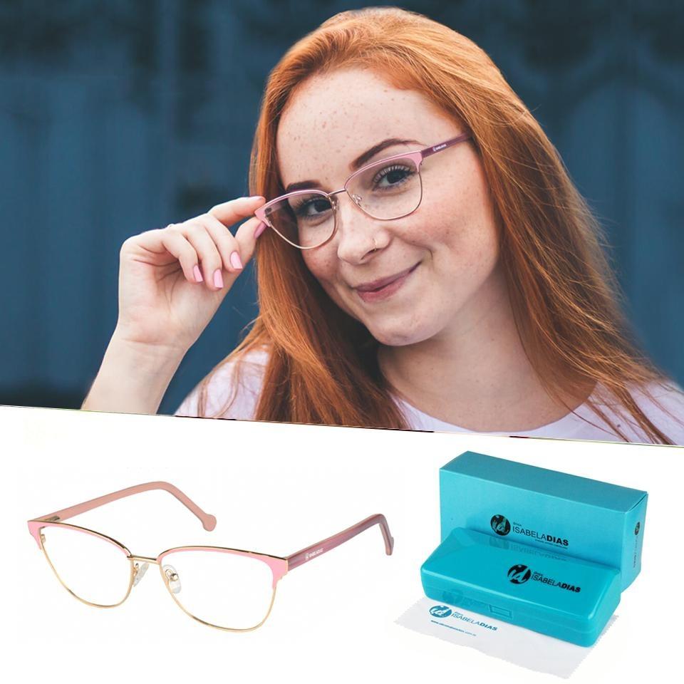 dd008fba65fd5 armação óculos de grau feminino gatinho metal original 77031. Carregando  zoom.