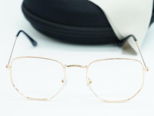 e837ced92 Armação Óculos De Grau Feminino Hexagonal Metal Dourado Bril - R$ 45 ...