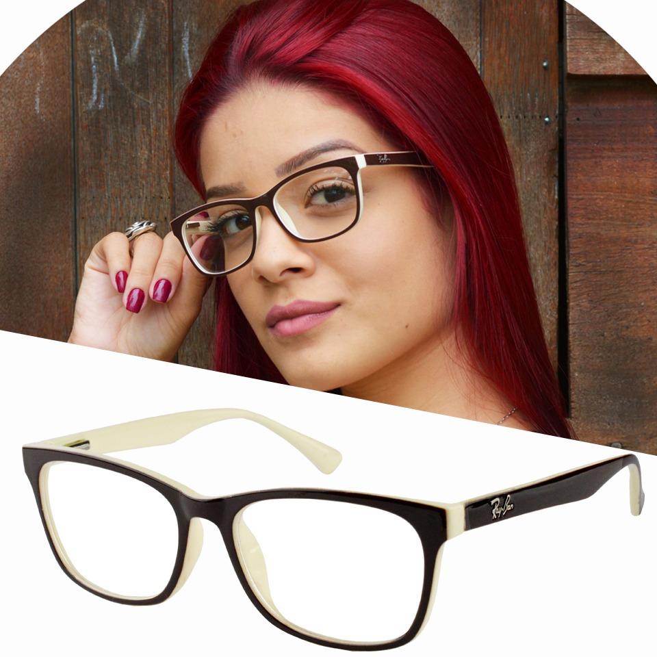 armação oculos de grau feminino marrom creme rayban estojo. Carregando zoom. 8b10457702