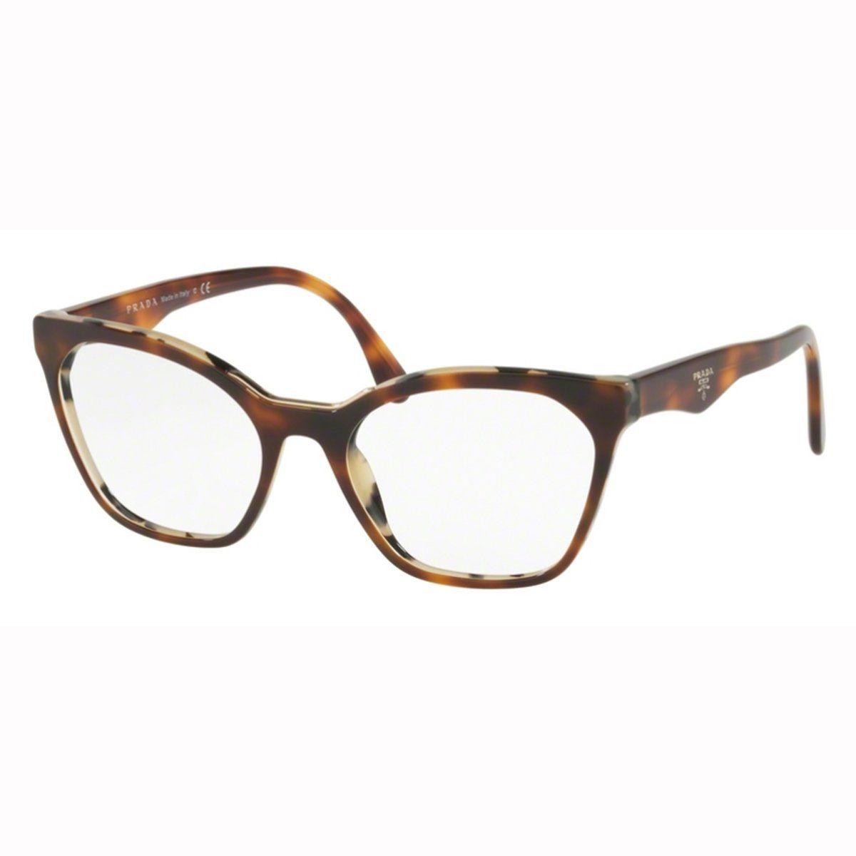6353ffe83 Armação Óculos De Grau Feminino Prada Vpr09u Th8-101 - R$ 879,00 em ...