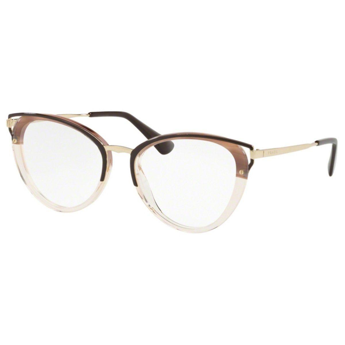 a77e265b1 Armação Óculos De Grau Feminino Prada Vpr53u Mru-101 - R$ 959,00 em ...