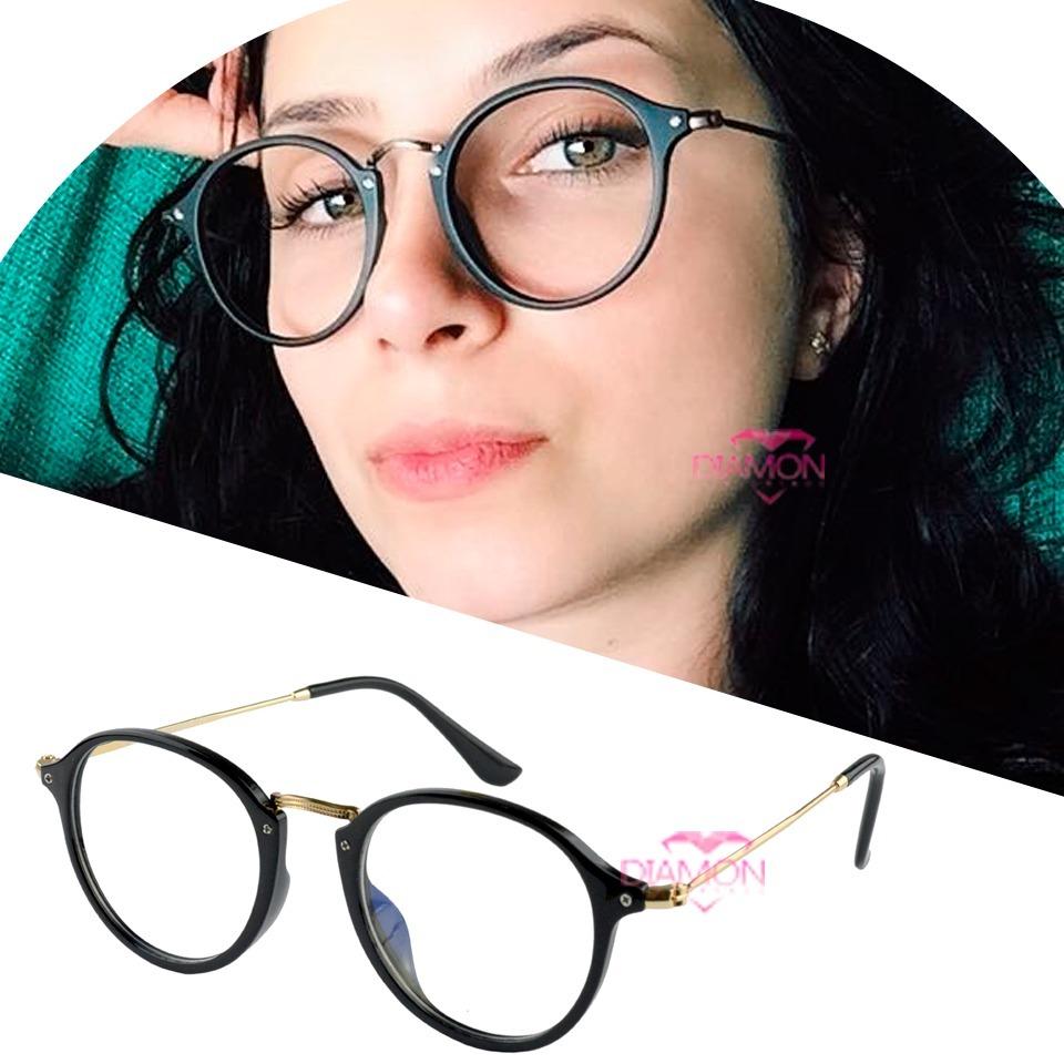 b1febd01c4eb8 armação óculos de grau feminino redondo geek metal leve. Carregando zoom.