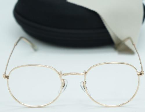 6f19a7c0f Armação Óculos De Grau Feminino Round Redondo Metal Dourado - R$ 39 ...