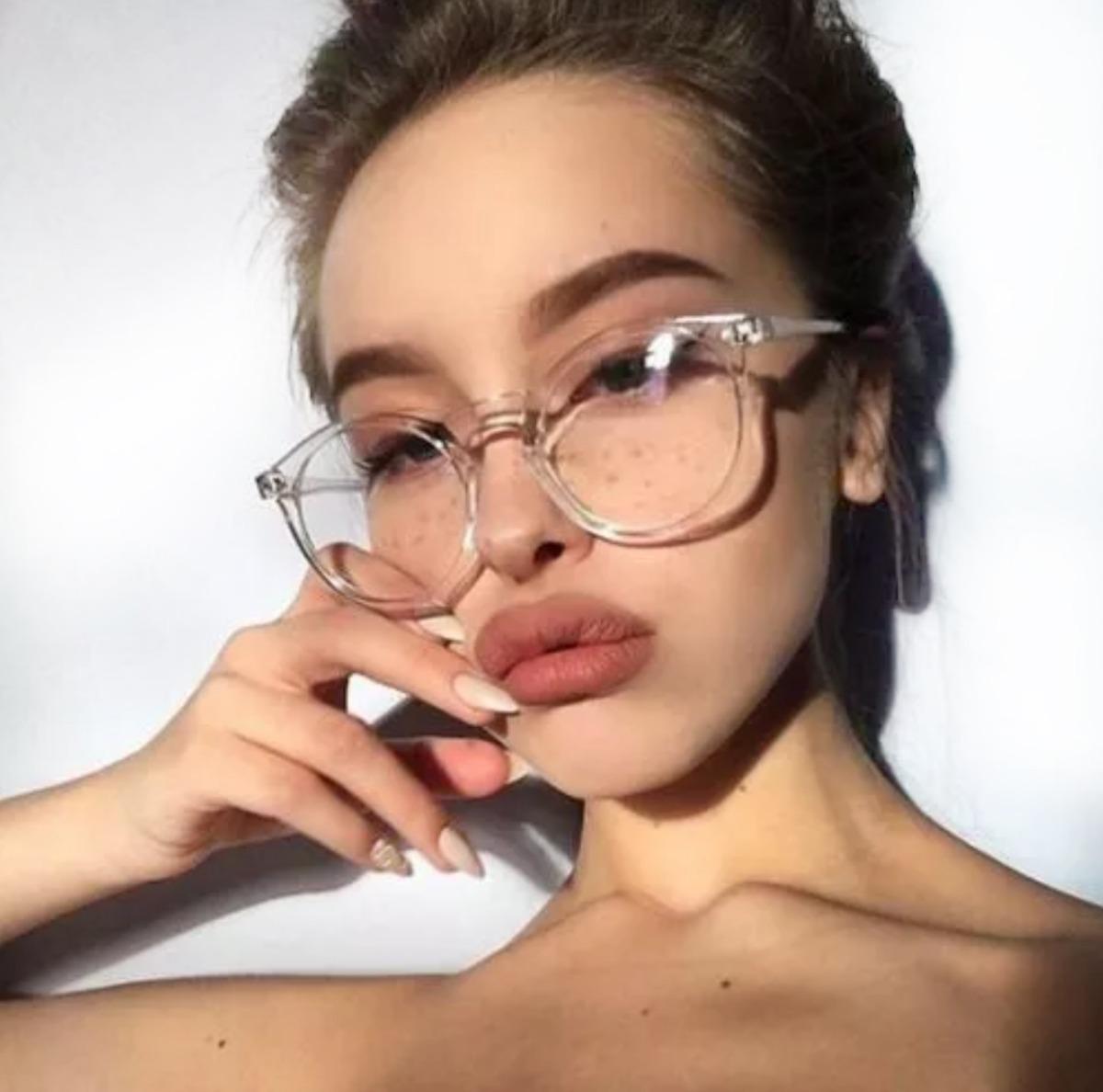 3a2b441dc2664 armação óculos de grau feminino transparente redondo. Carregando zoom.