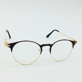e9feb2444 Armação Oculos De Grau Geek Metal Gato Redondo Retro Barato