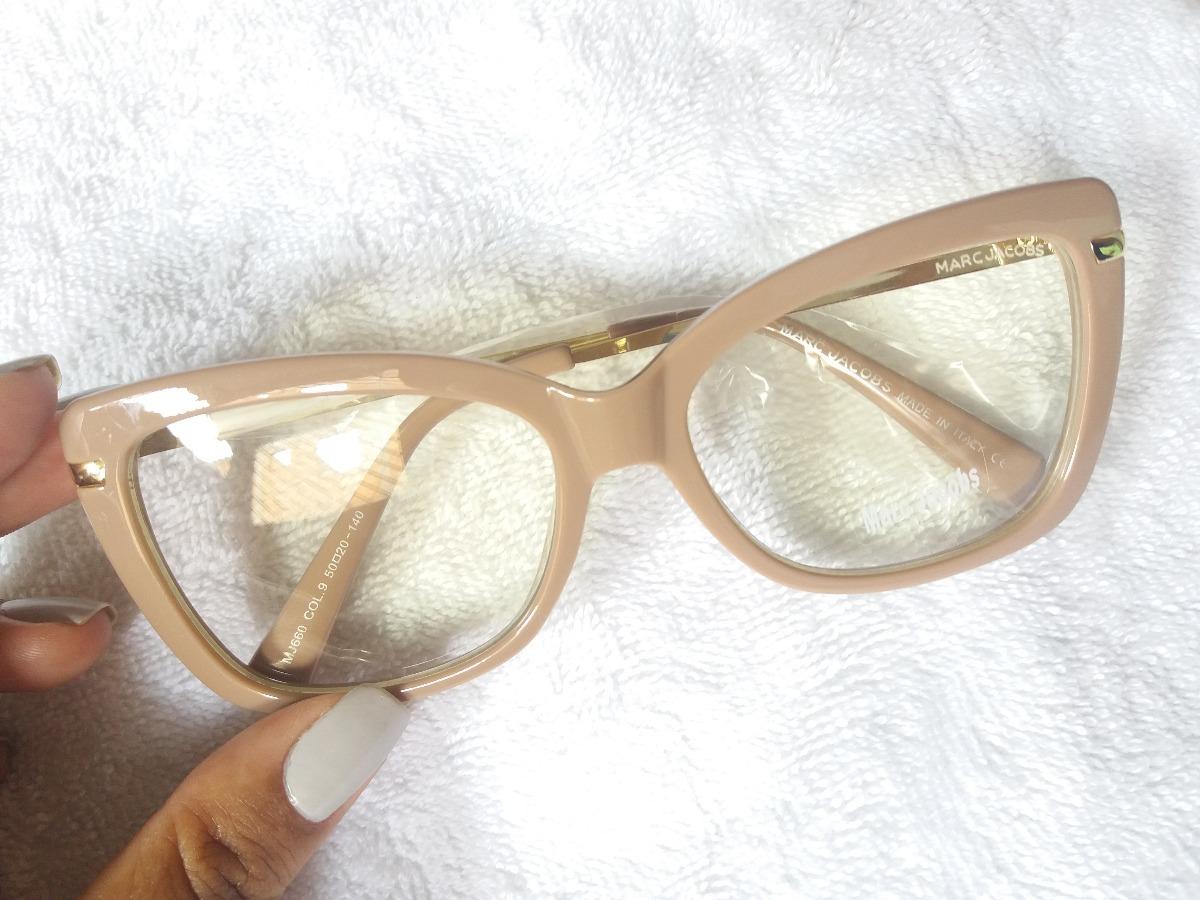 787dd3d04d5e4 Armação Óculos De Grau Marc Jacobs Quadrado + Brinde - R  119