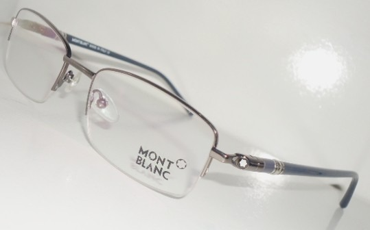 b33c603040d2a Armação Óculos De Grau Mont Blanc Mb89 Cinza Preto Meio Aro - R  104 ...
