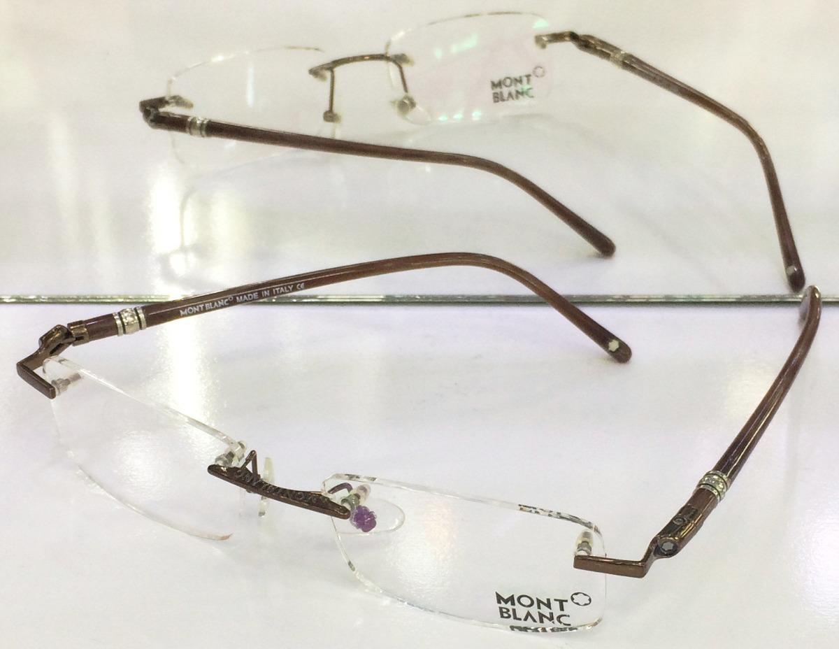 f18dd285993e9 armação oculos de grau montblanc mb89 marrom sem aro linda! Carregando zoom.