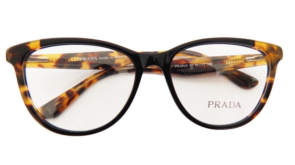 c66a03969 armação óculos de grau prada pr05 feminino marrom original. Carregando zoom.