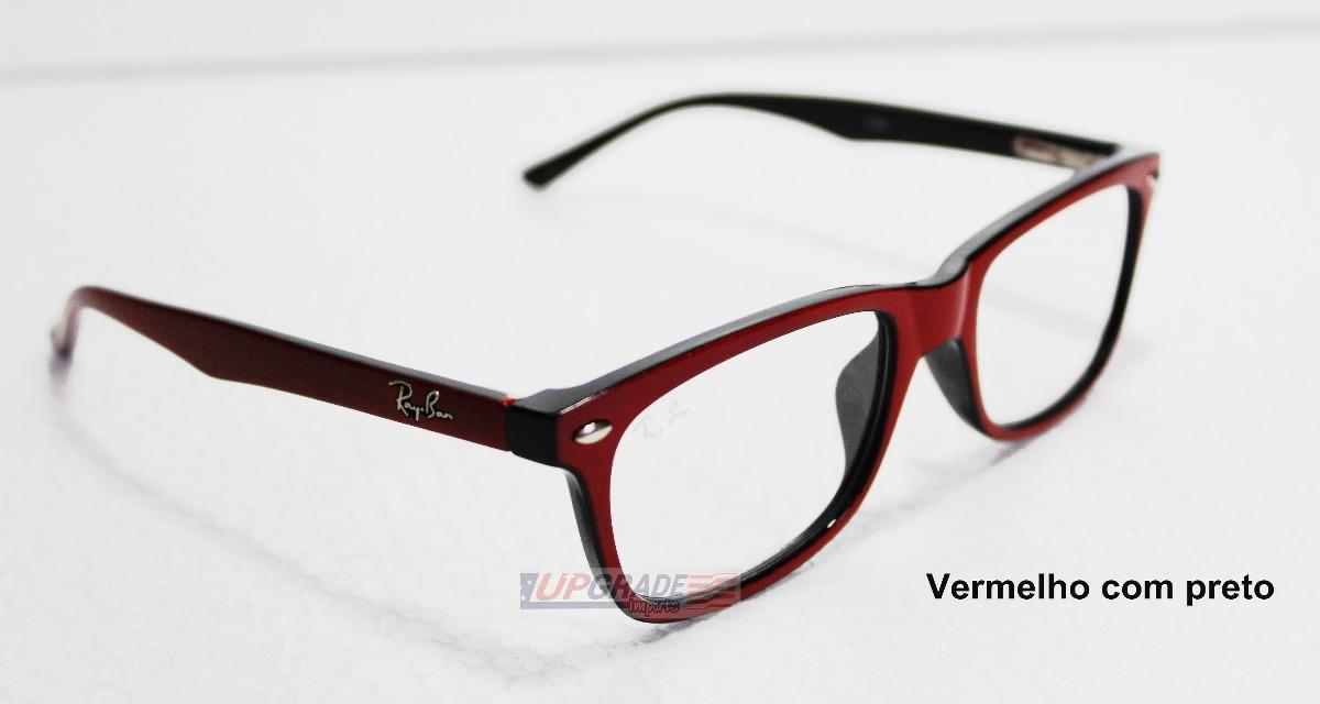 631ba4484 Armação Oculos De Grau Rayban Rb 5228 Vermelho Com Preto - R$ 42,99 ...