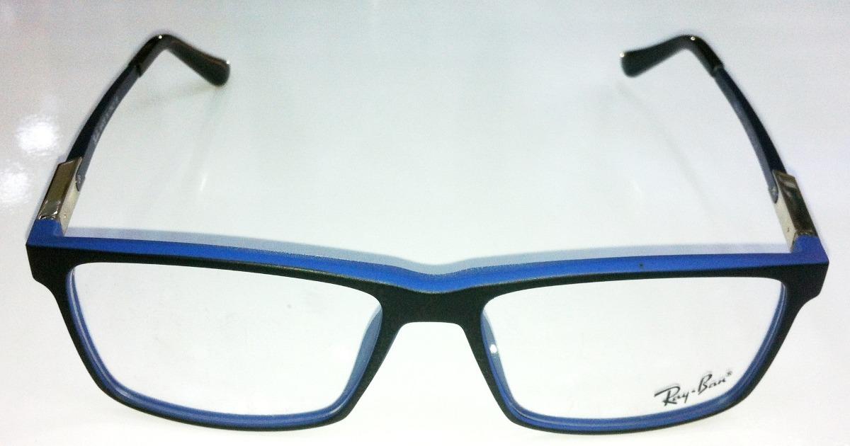6d243674c6cf1 armação oculos de grau rb4807 wayfarer preto e azul ray ban. Carregando zoom .
