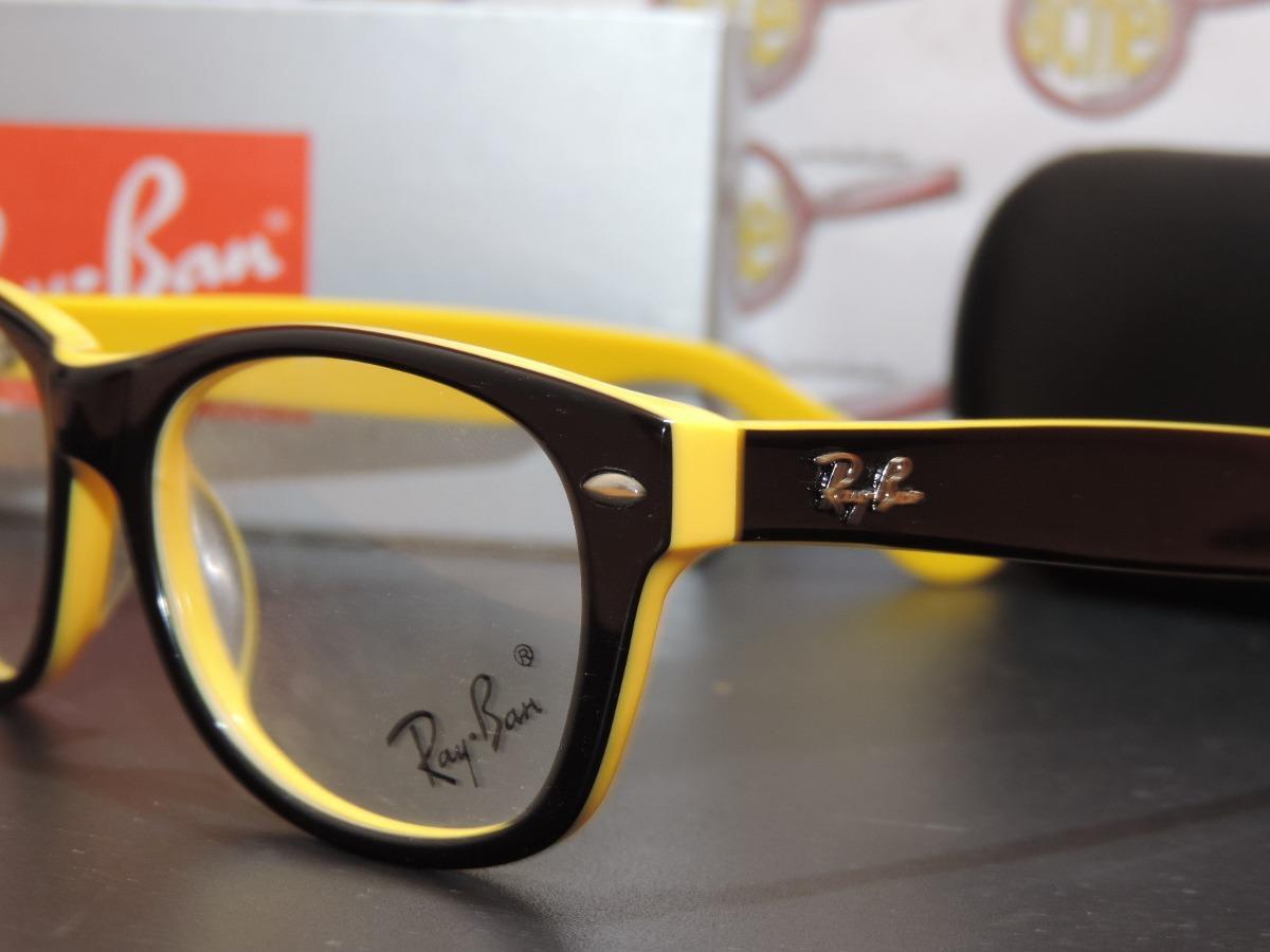 00ce463438525 armação oculos de grau rb5228 wayfarer amarelo preto ray ban. Carregando  zoom.