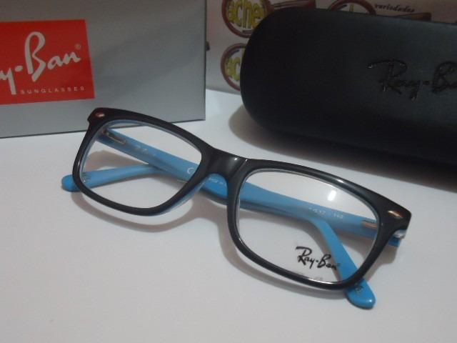 bc5e686f33f5c Armação Oculos De Grau Rb5228 Wayfarer Preto E Azul Ray-ban - R  97 ...