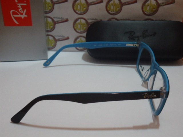 e3c38106e Armação Oculos De Grau Rb5228 Wayfarer Preto E Azul Ray Ban - R$ 97 ...