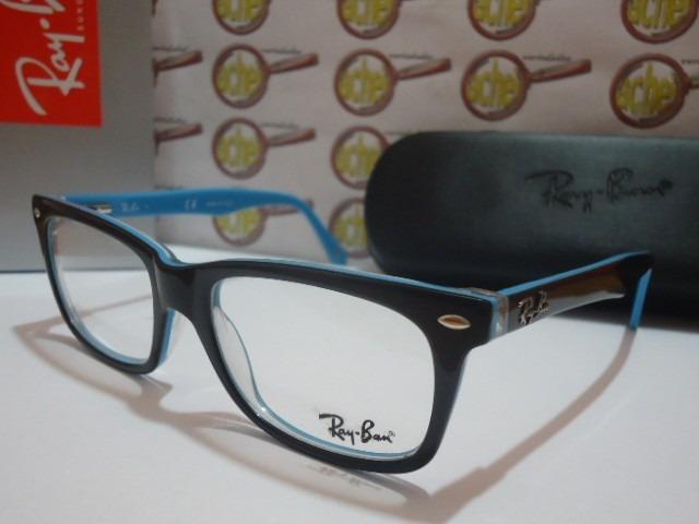 792af7669e1fa Armação Oculos De Grau Rb5228 Wayfarer Preto E Azul Ray Ban - R  97 ...