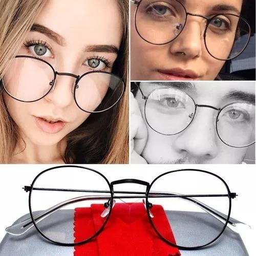 Armação Óculos De Grau Redondo Metal Geek Moda Retrô +brinde - R  69 ... 12b3555fe3