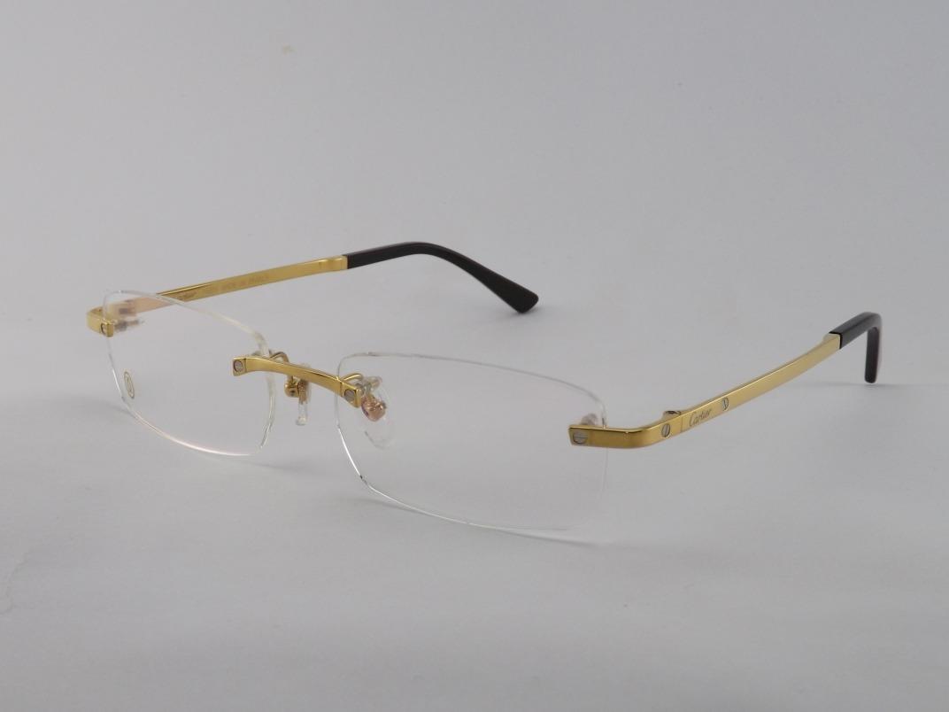 Armação Óculos De Grau Sem Aro Cartier Dourado Vip - R  220,00 em ... 6e858aca78