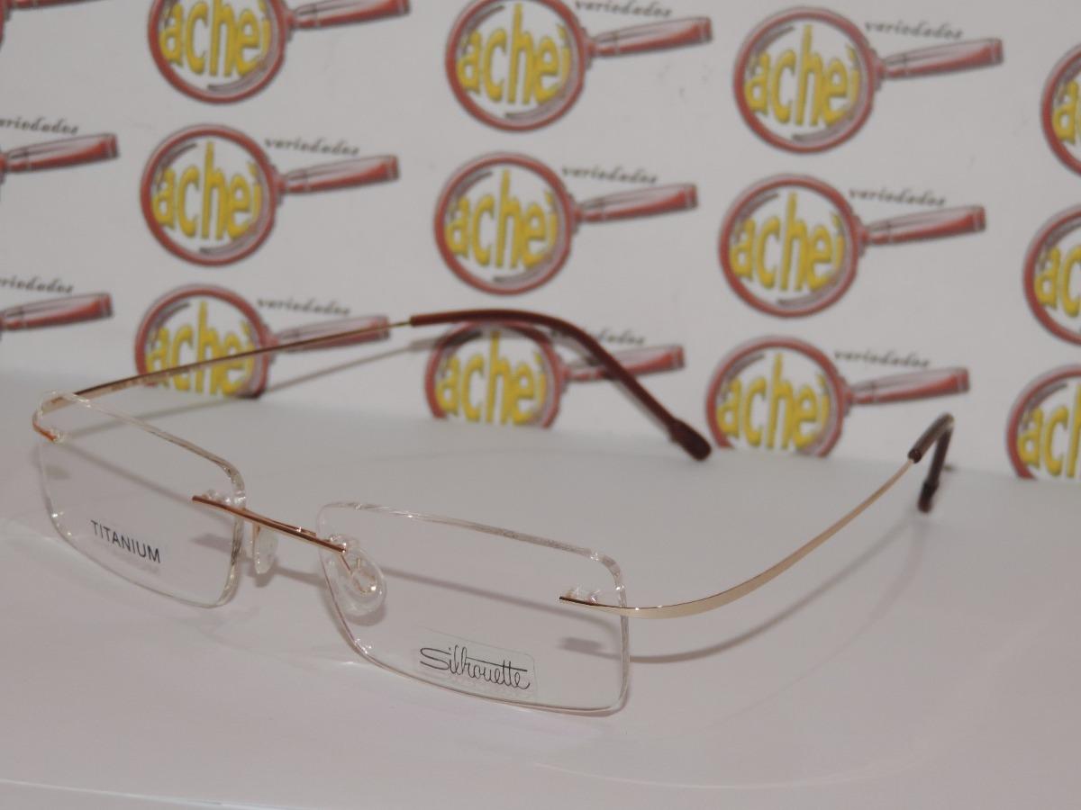 dd736407f4c94 armação oculos de grau silhouette titanium flexivel dourada. Carregando  zoom.