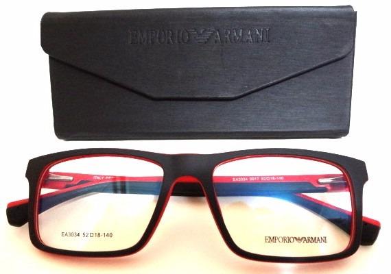 f9572adc7 Armação Óculos Ea3034 Masculino Preto E Vermelho - R$ 120,00 em ...