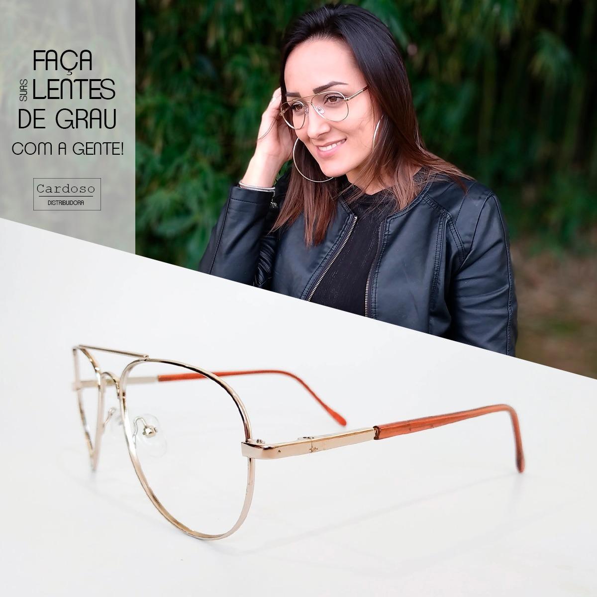 2f075cf06e3c6 armação óculos feminino aviador com lentes sem grau 26021. Carregando zoom.