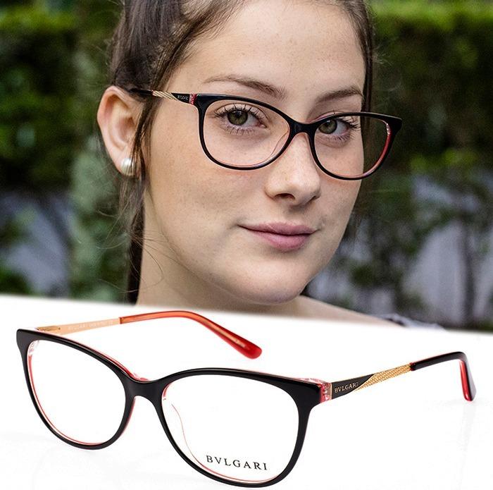 5a3589c8fafc8 Armação Oculos Feminino P  Grau Acetato Metal Bv8 Lançamento - R ...