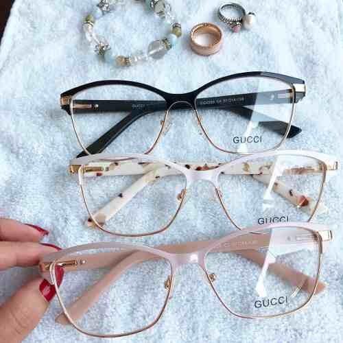 ccdd72370 Armação Óculos Gatinho Acetato Metal Com Caixa Importado - R$ 114,00 ...