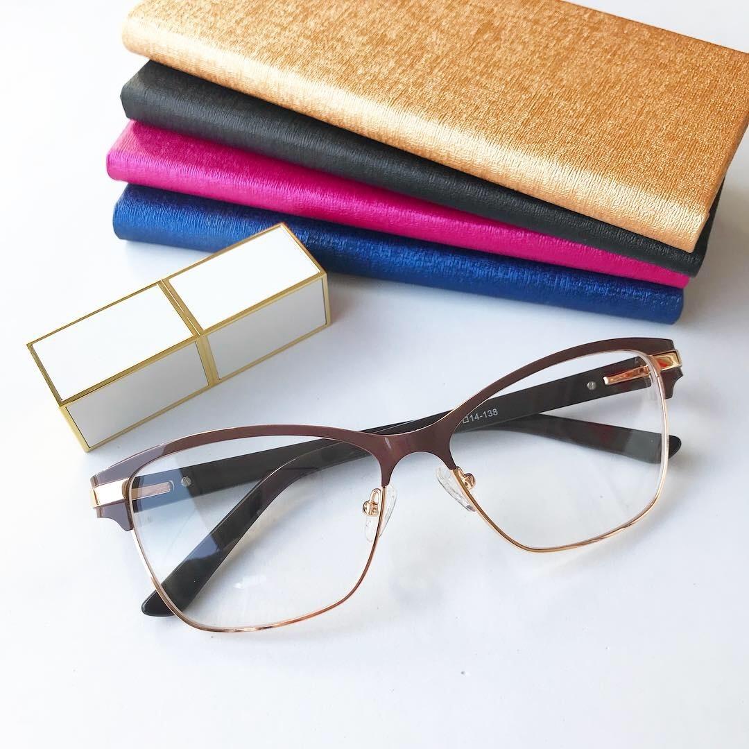 Armação Óculos Gatinho Quadrado Acetato Metal Feminino Caixa - R ... d799788775