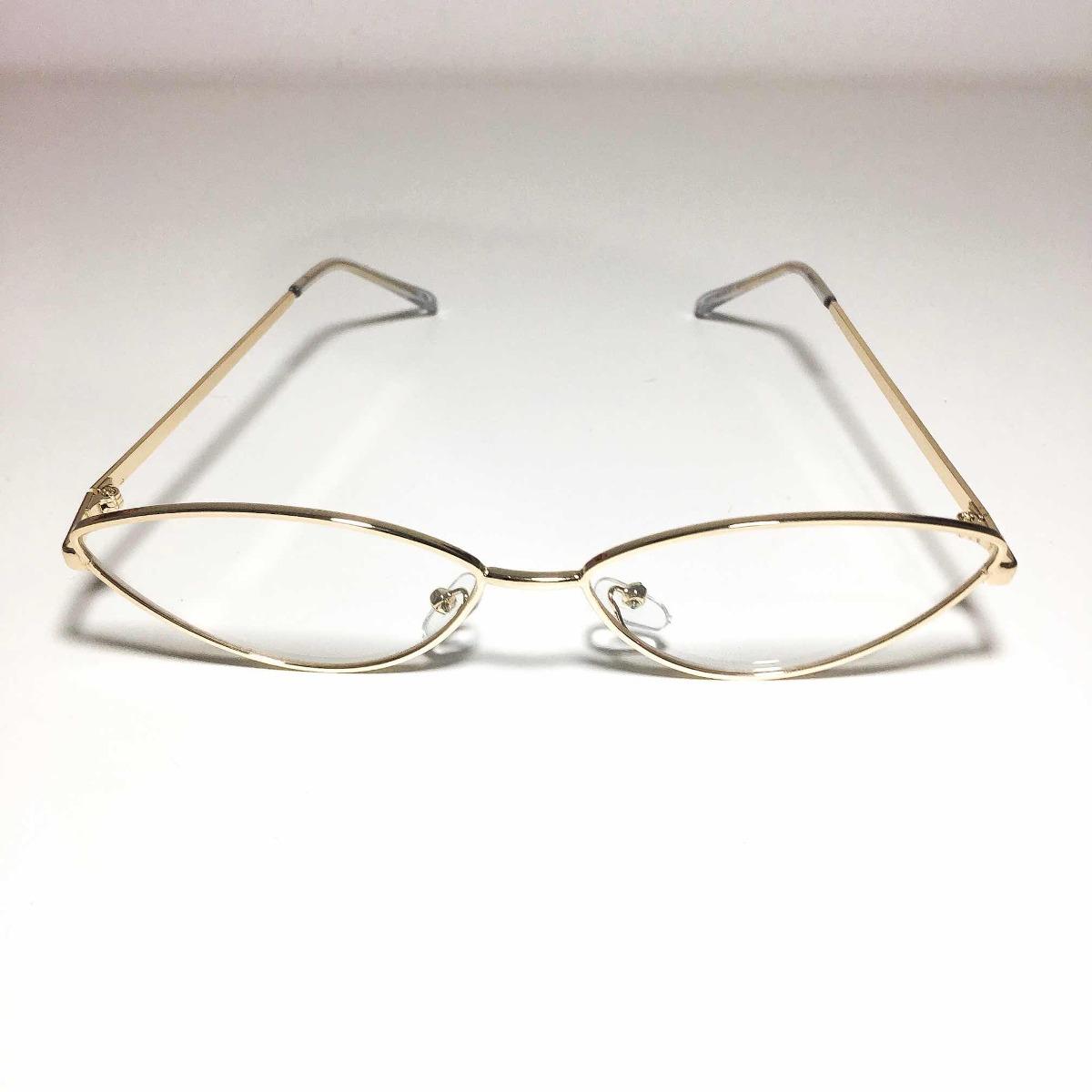ffc072ec85f1f armação óculos gatinho retro vintage anos 90 dourado. Carregando zoom.
