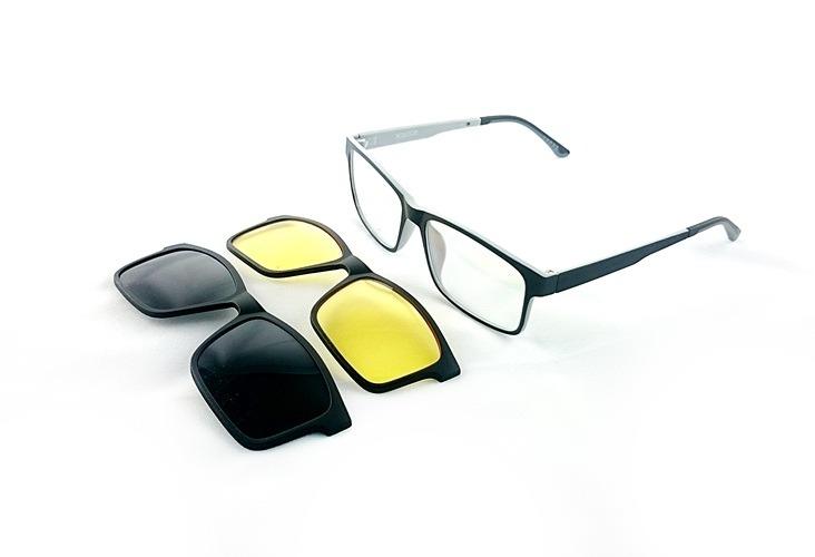 36ca816cefaa4 Armação Oculos Grau 2 Clip On Ts622 C2 Preto Cinza Polarizad - R  120